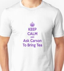 Keep Calm and Ask Carson To Bring Tea Small Slim Fit T-Shirt