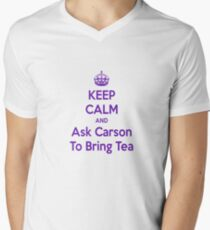 Keep Calm and Ask Carson To Bring Tea Small Men's V-Neck T-Shirt