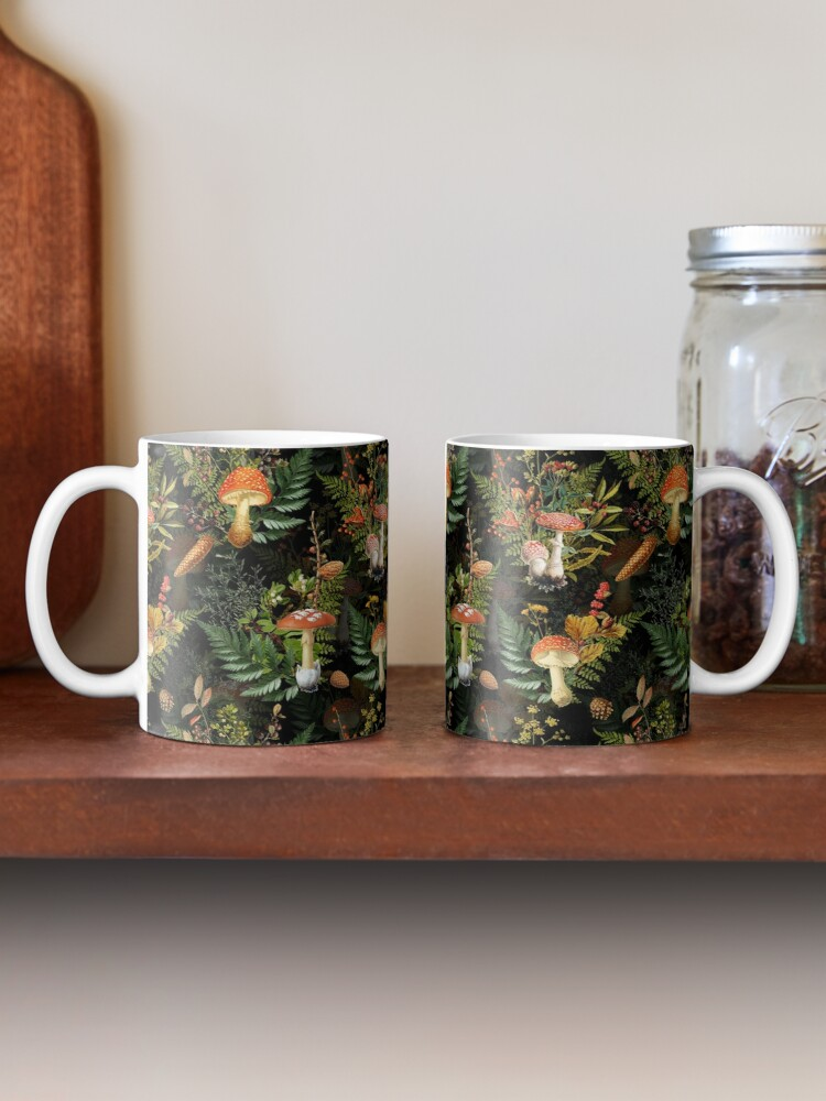 Alternate view of vintage toadstools in the forest on black Mug