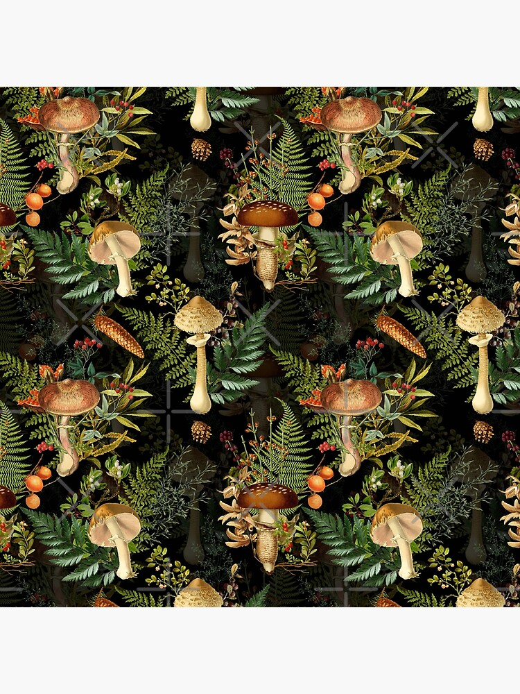 Vintage toxic mushrooms forest pattern on black by UtArt