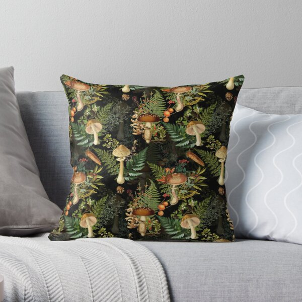 Vintage toxic mushrooms forest pattern on black Throw Pillow