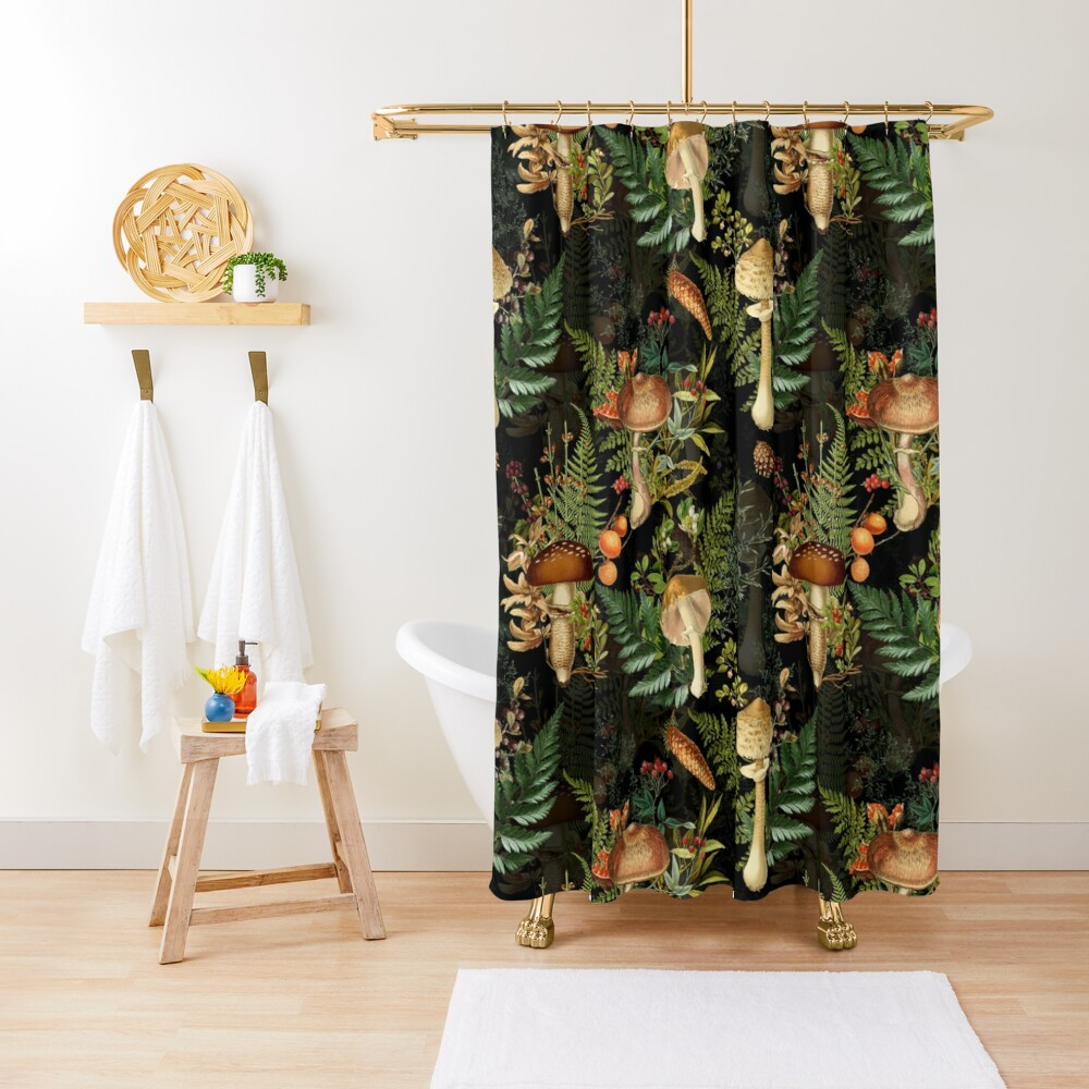 Vintage toxic mushrooms forest pattern on black Shower Curtain