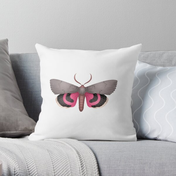 Pink Underwing Moth Throw Pillow