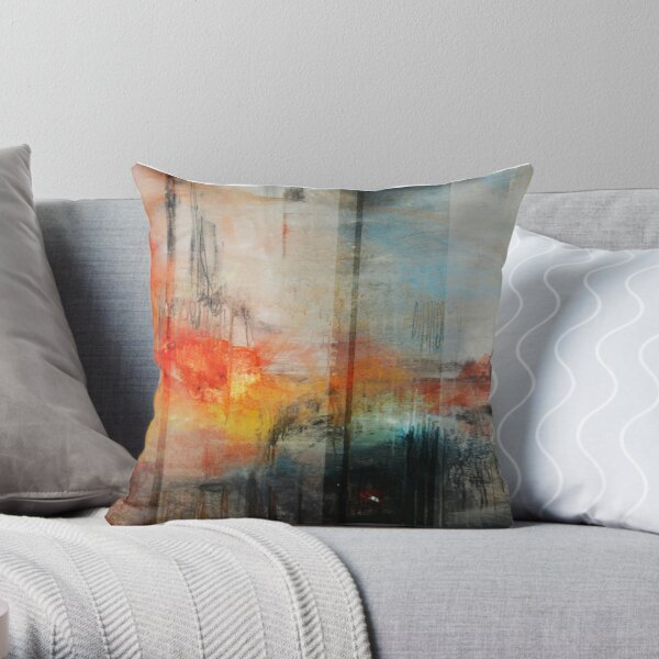 Large Abstract Art, Blue Orange Abstract Print  Throw Pillow