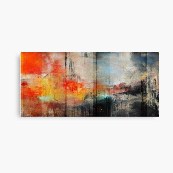 Arte abstracto grande, impresión abstracta anaranjada azul Lienzo