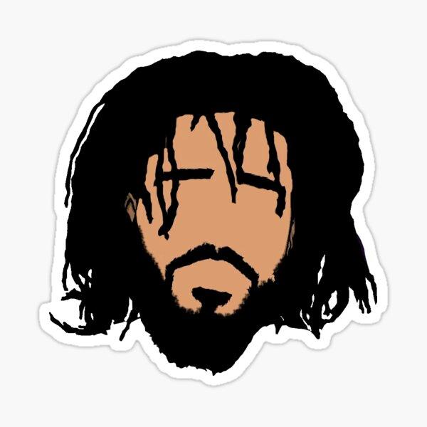 J. cole face art  Sticker