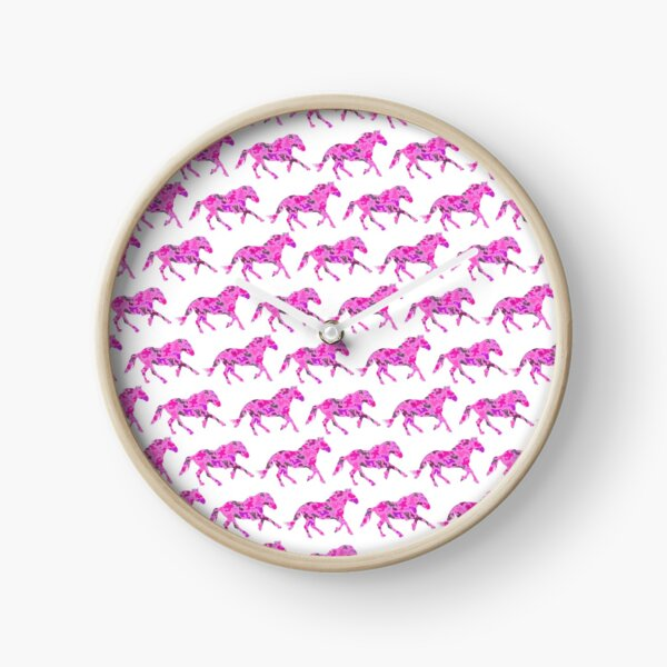 Mustang horses pink camo and White  Clock