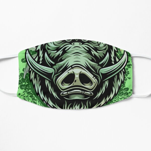 Wild Green floral  Boar amazing idea as a gift for animals lover Mask