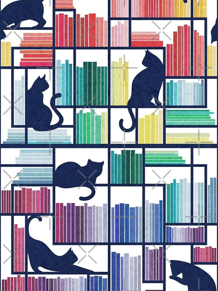 Rainbow bookshelf // white background navy blue shelf and library cats by SelmaCardoso