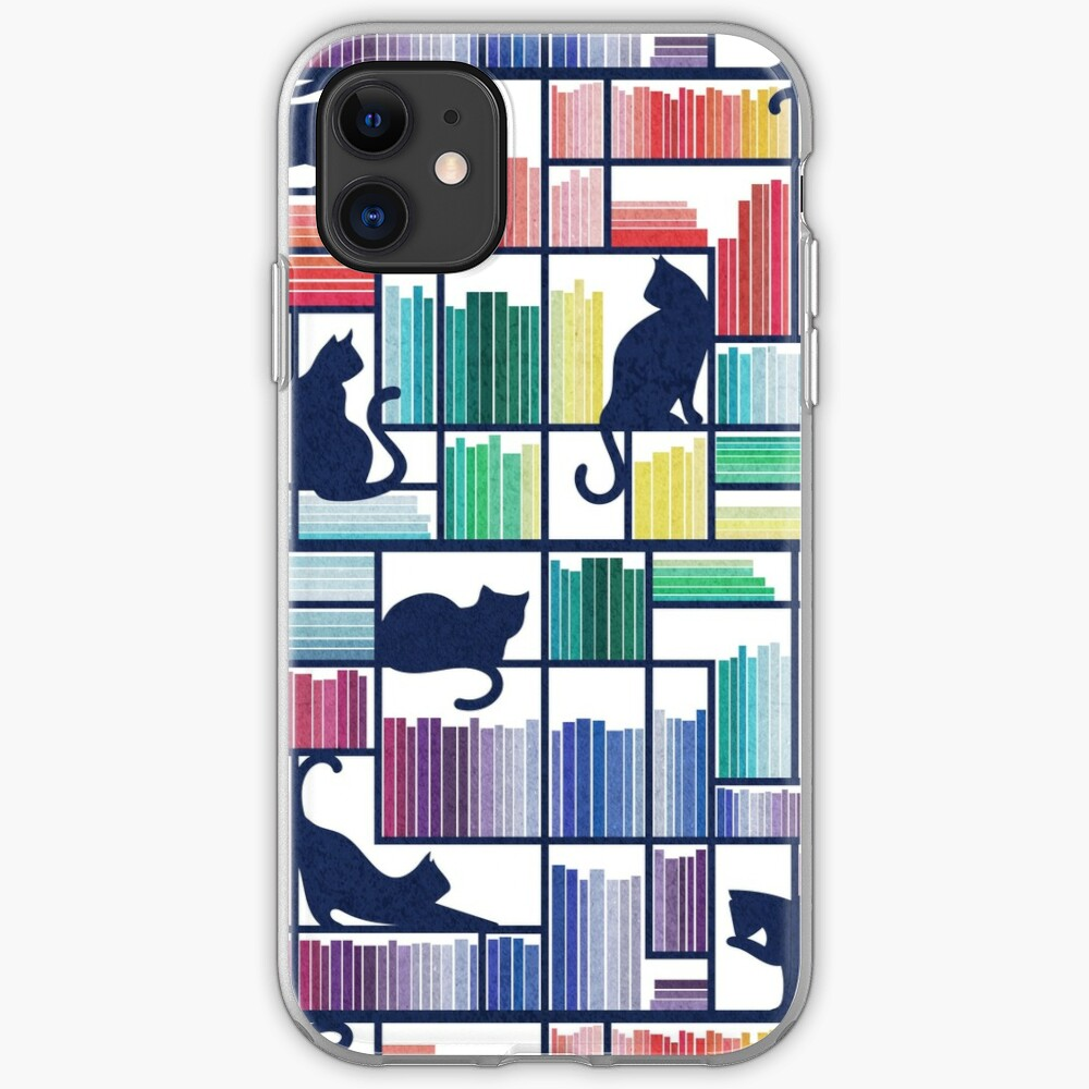 Rainbow bookshelf // white background navy blue shelf and library cats iPhone Case & Cover