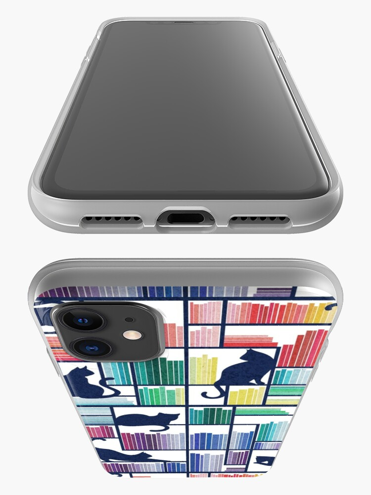 Alternate view of Rainbow bookshelf // white background navy blue shelf and library cats iPhone Case & Cover