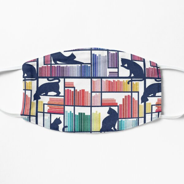 Rainbow bookshelf // white background navy blue shelf and library cats Mask
