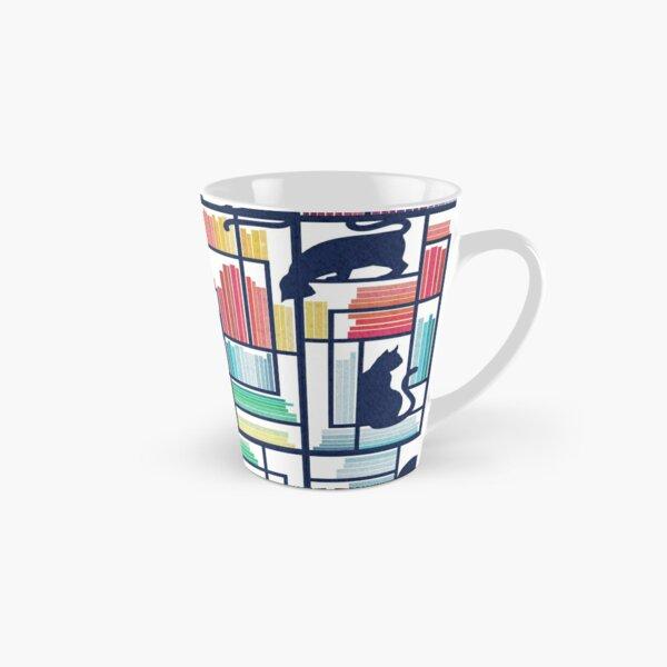Rainbow bookshelf // white background navy blue shelf and library cats Tall Mug