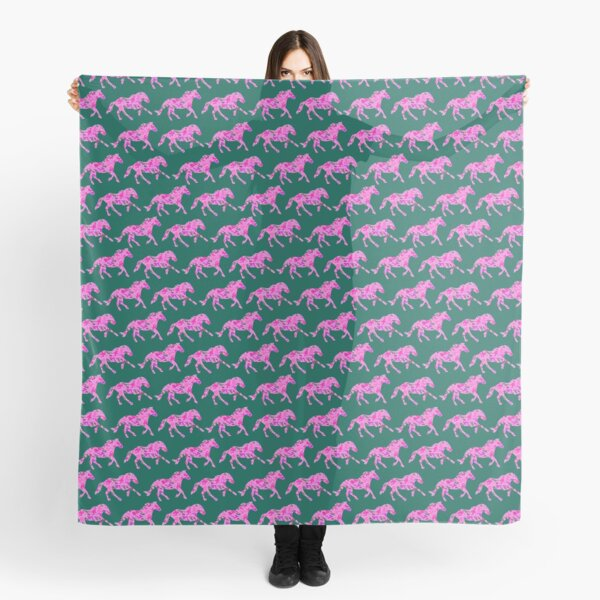 Mustang horses pink camo and green  Scarf