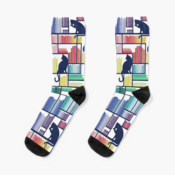 Rainbow bookshelf // white background navy blue shelf and library cats Socks