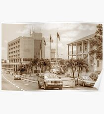 The Post Office on East Hill Street and the Water Tower in Nassau, The Bahamas Poster