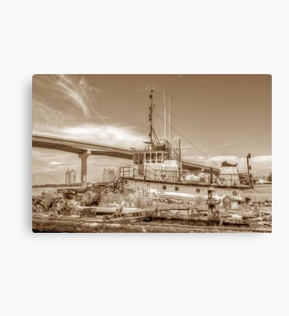 """Big Crab"" docked on a rusty floating dock at Potter's Cay in Nassau, The Bahamas Canvas Print"