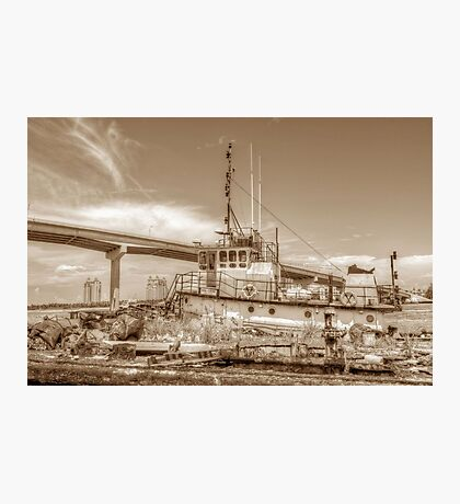 """Big Crab"" docked on a rusty floating dock at Potter's Cay in Nassau, The Bahamas Photographic Print"