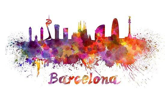 Barcelona skyline in watercolor by paulrommer