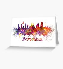 Barcelona skyline in watercolor Greeting Card