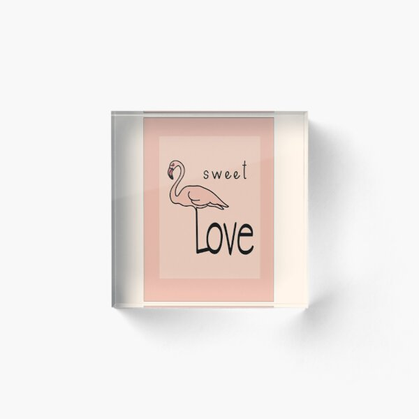 Flamingo Love Acrylic Block