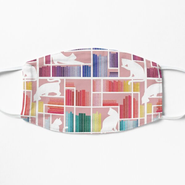 Rainbow bookshelf // blush pink background white shelf and library cats Mask