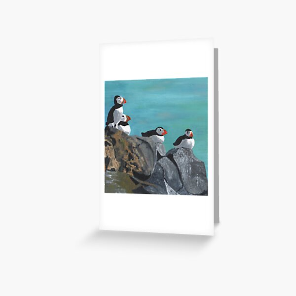 A group of Puffins on Rocks Greeting Card
