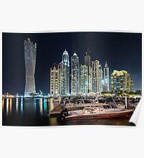 Night time lights at the Dubai Marina Poster