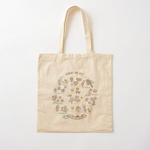 Flowers For Bees (Dark) Cotton Tote Bag