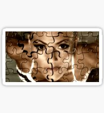 Female face in puzzle portrait Sticker