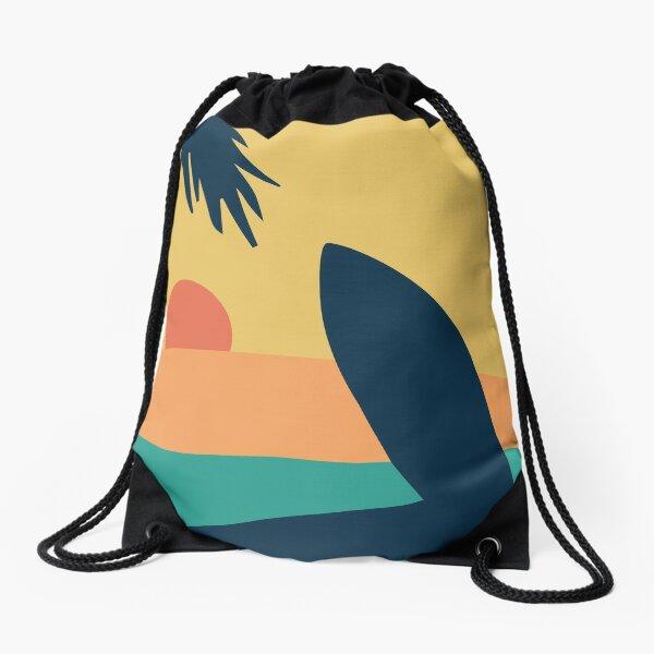 Surf Beach Vintage Look Drawstring Bag
