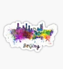 Beijing skyline in watercolor Sticker