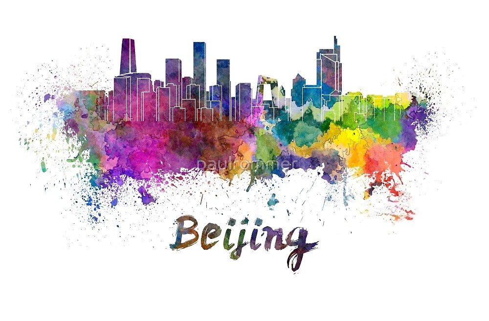 Beijing skyline in watercolor by paulrommer