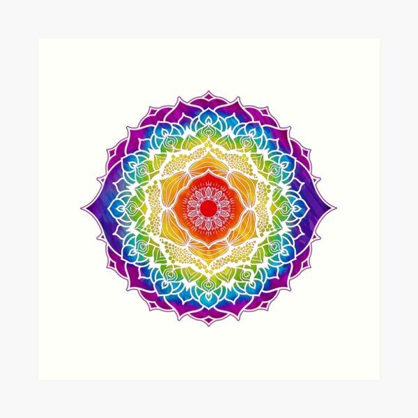 Diseño de mandala de 7 chakras - Acuarela WOWB Lámina artística