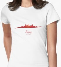 Beijing skyline in red Womens Fitted T-Shirt