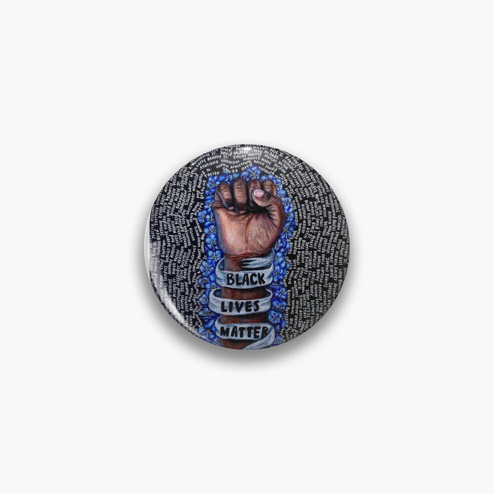 Black Lives Matter Fist With Forget-Me-Nots Pin