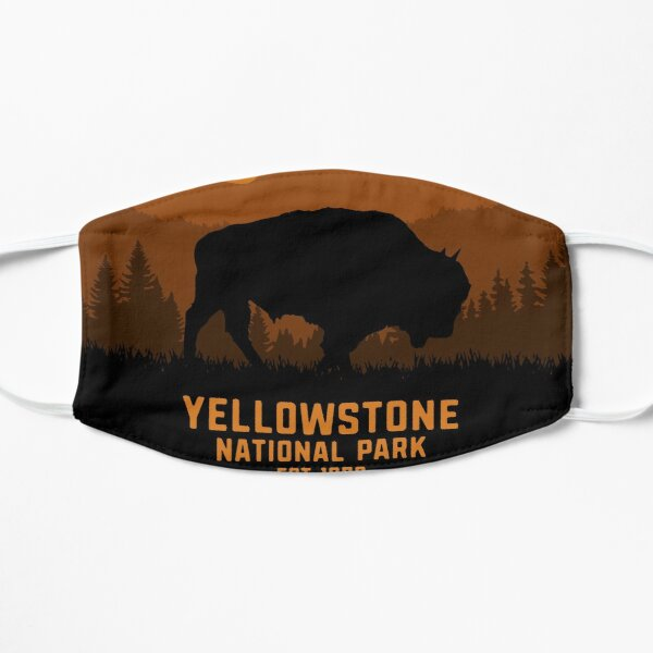 Vintage Retro Yellowstone National Park Wyoming USA Bison 80s 70s Style Flat Mask