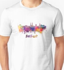 Belfast skyline in watercolor Unisex T-Shirt