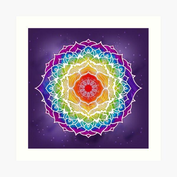 Diseño de mandala de 7 chakras - acuarela WOPURPLEBG Lámina artística