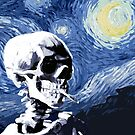 Skull with burning cigarette on a Starry Night by filippobassano