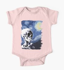 Skull with burning cigarette on a Starry Night One Piece - Short Sleeve