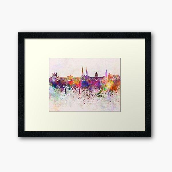 Belfast skyline in watercolor background Framed Art Print