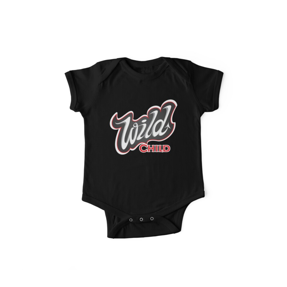 Wild Child Lettering T Shirt One Piece Short Sleeve By One In