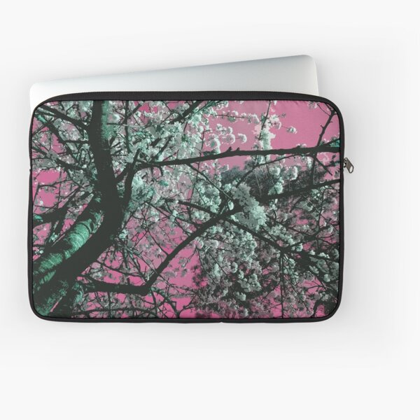 Cherry blossom on pink background Laptop Sleeve