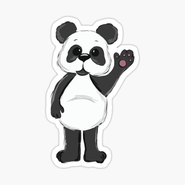 süßer, winkender Panda Bär Sticker