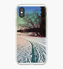 A snowy trail and some trees iPhone Case