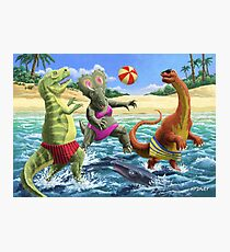 dinosaur fun playing Volleyball on a beach vacation Photographic Print