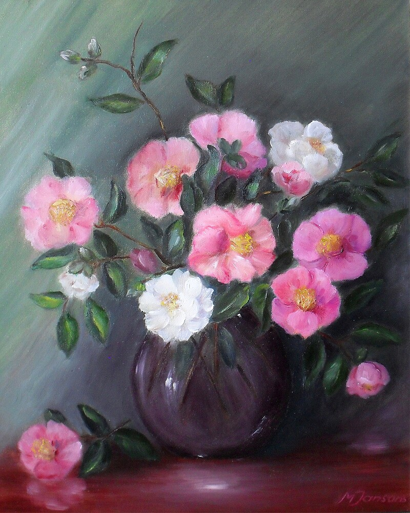 Pink and white camelias by Milija  Jansons