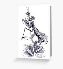 praying mantis hand illustrated schoolbook print Greeting Card