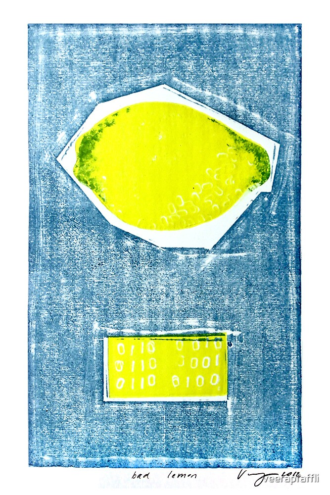 bad lemon retro fruit fine art binary code litho print by Veera Pfaffli